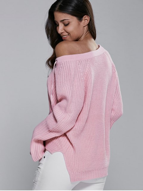 women's High Low V Neck Lace Up Sweater - PINK ONE SIZE Mobile