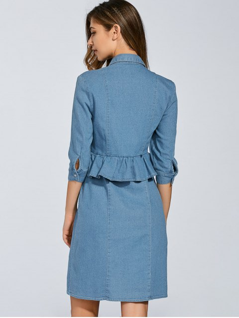 outfits Denim Shirt Dress With Ruffles - DENIM BLUE L Mobile