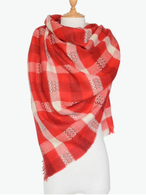 womens Plaid Pattern Fringed Shawl Scarf -   Mobile