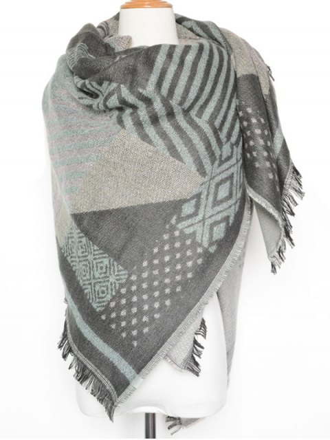 women's Geometry Pattern Fringed Shawl Scarf - LIGHT GRAY  Mobile