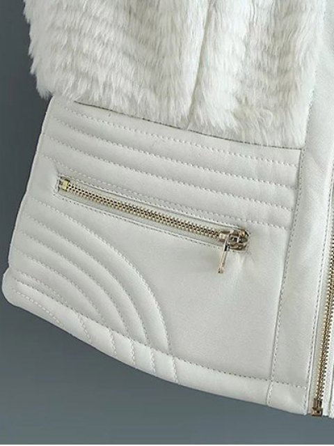 sale PU Leather Spliced Faux Fur Waistcoat - WHITE S Mobile