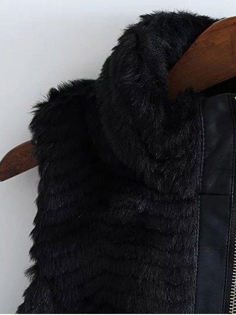 women PU Leather Spliced Faux Fur Waistcoat - BLACK S Mobile