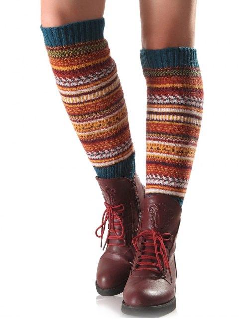 unique Ethnic Stripe Knit Leg Warmers - TURQUOISE  Mobile