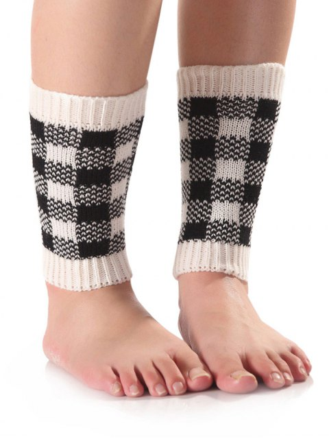 fashion Checkered Knit Boot Cuffs -   Mobile