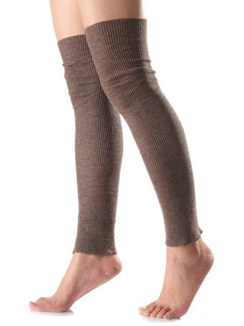 womens Long Knit Leg Warmers - DARK KHAKI  Mobile