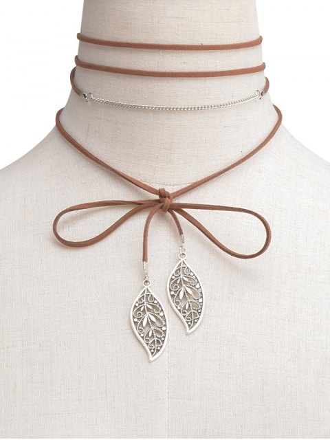 buy Hollow Out Leaf Wrap Choker - BROWN  Mobile