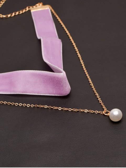 ladies Faux Pearl Layered Velvet Choker - PURPLE  Mobile