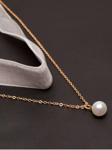 lady Faux Pearl Layered Velvet Choker - WHITE  Mobile