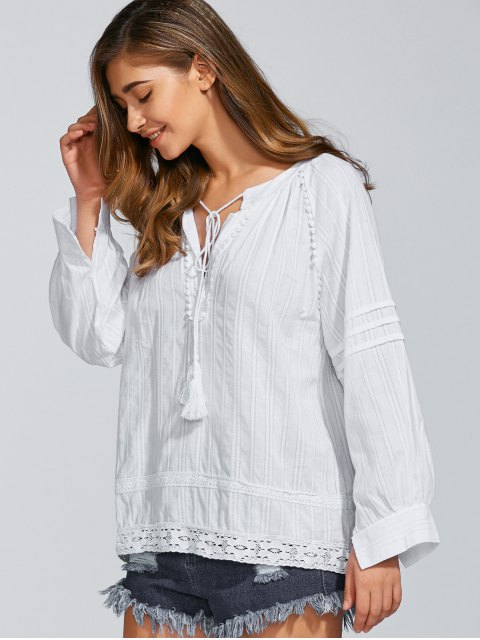 chic Long Sleeve Loose Fitting Blouse - WHITE ONE SIZE Mobile