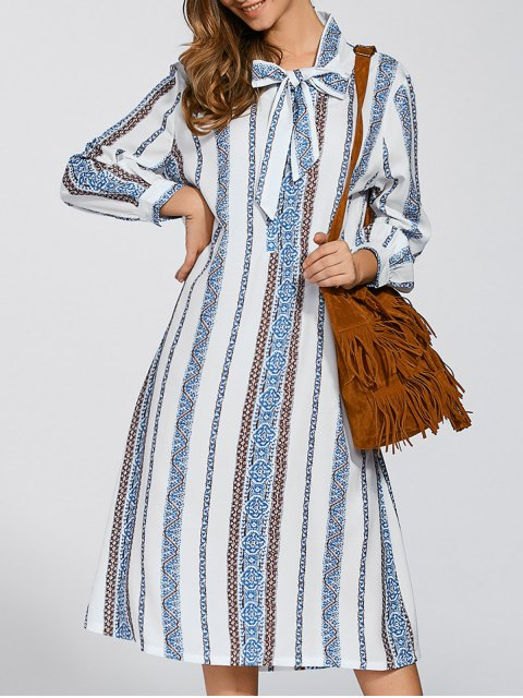 fancy Tie Long Sleeve Striped Shift Dress - COLORMIX ONE SIZE Mobile