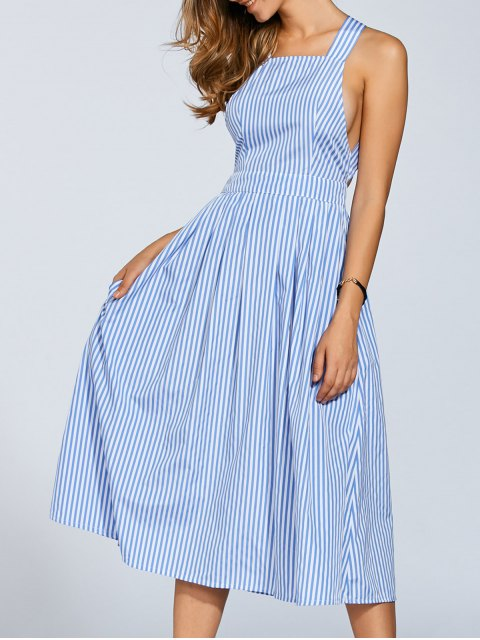 unique Striped Straps A Line Dress - STRIPE S Mobile