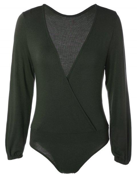 Manches longues Plunge Bodysuit - Vert Foncé 2XL Mobile