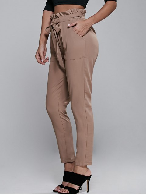 lady High Waisted Belted Narrow Feet Pants - KHAKI M Mobile