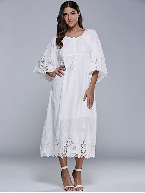 outfits Embroidered Tea Length Shift Dress - WHITE XL Mobile