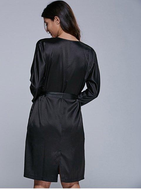 shop Long Sleeve Midi Wrap Work Dress - BLACK S Mobile