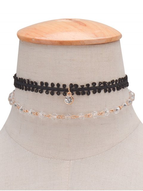 online Layered Rhinestone Braid Choker Necklace - BLACK  Mobile