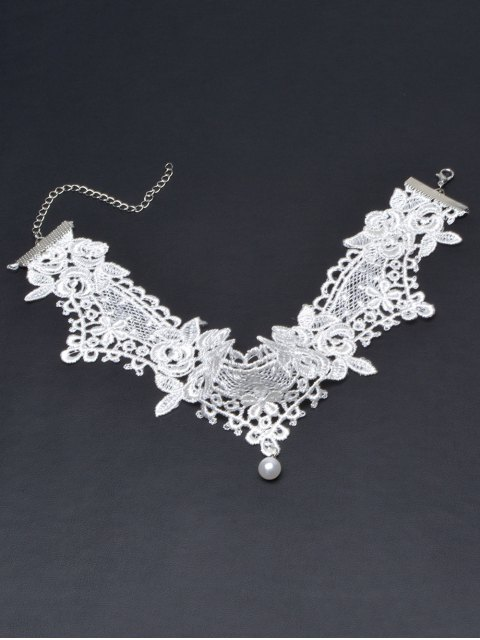 trendy Faux Lace Pearl Floral Choker Necklace - WHITE  Mobile