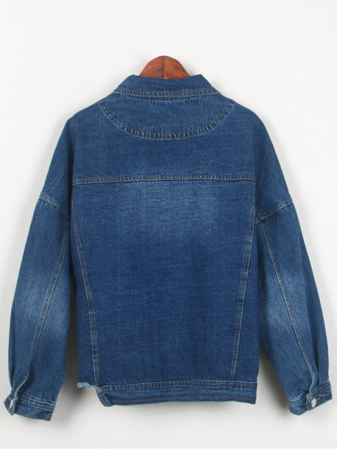 buy Frayed Irregular Hem Denim Jacket - BLUE ONE SIZE Mobile