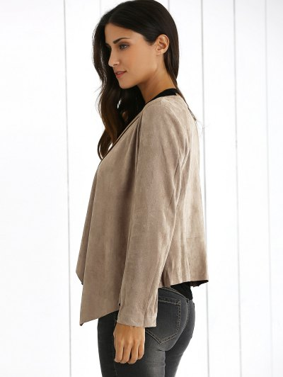 Lapel Collar Long Sleeve Suede Coat - KHAKI L Mobile