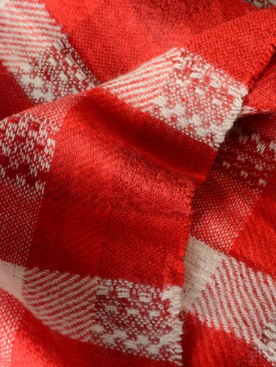 Plaid Pattern Fringed Shawl Scarf - RED  Mobile