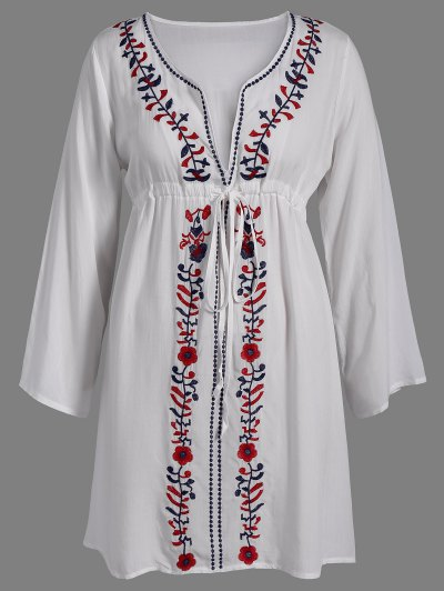 Floral Embroidery V Neck Smock Dress - Off-white