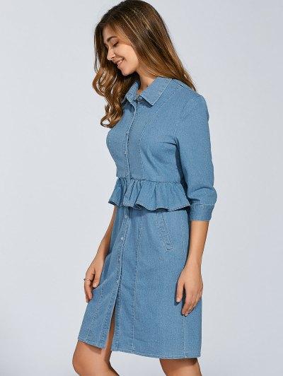 Denim Shirt Dress With Ruffles - DENIM BLUE 2XL Mobile