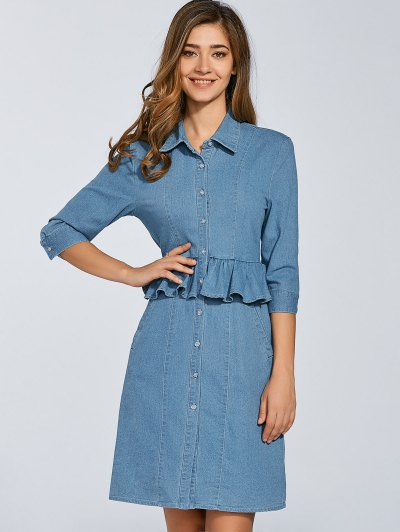Denim Shirt Dress With Ruffles - DENIM BLUE L Mobile
