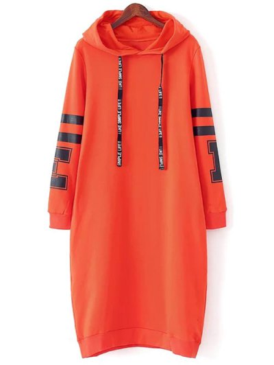 Graphic Hoodie Dress - Orange Red