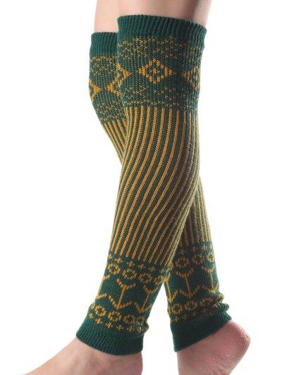 Rhombus Vertical Stripe Knit Leg Warmers - GREEN  Mobile