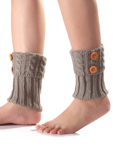 Buttons Flanging Knit Boot Cuffs - LIGHT GRAY  Mobile