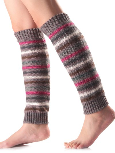 Horizontal Stripe Knit Leg Warmers - GRAY  Mobile