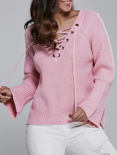 High Low V Neck Lace Up Sweater - Pink