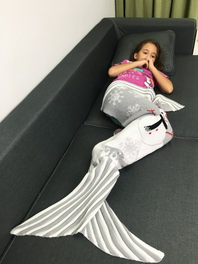 Christmas Knitted Snowman Pattern Mermaid Tail Blanket - LIGHT GRAY  Mobile
