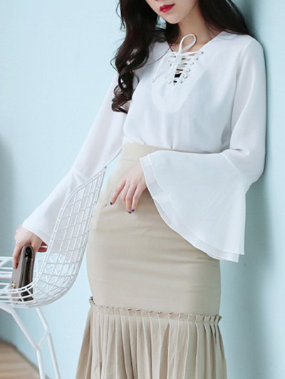 Flare Sleeve Lace Up Chiffon Blouse - WHITE ONE SIZE Mobile