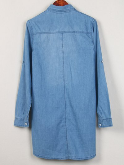 Shirt Neck Long Denim Shirt - LIGHT BLUE L Mobile