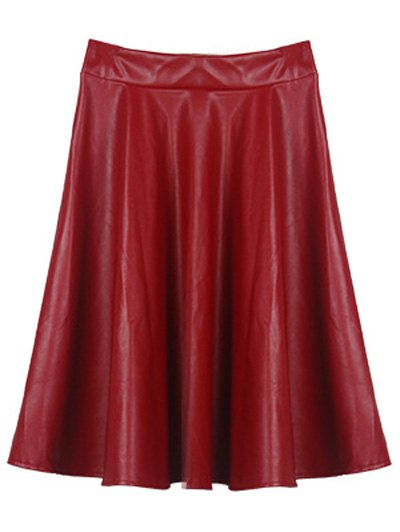 A Line PU Leather Skirt - WINE RED ONE SIZE Mobile