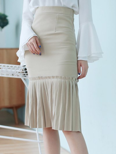 High Waisted Pleated Mermaid Skirt - LIGHT KHAKI ONE SIZE Mobile