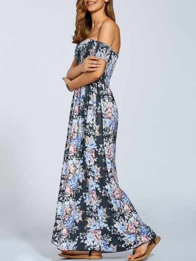 Vintage Floral Print Slit Off The Shoulder Dress - Black