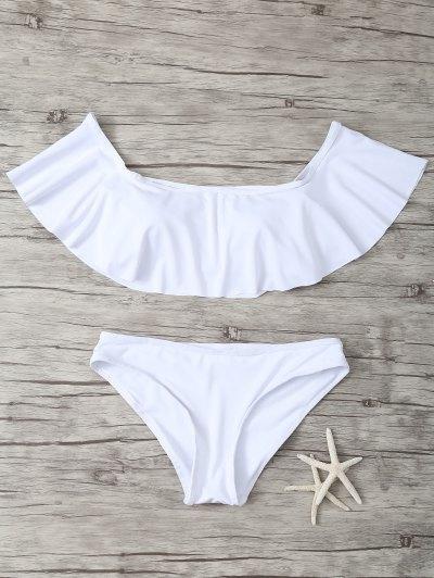 Ruffles Off Shoulder Bikini Swimwear - White