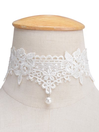 Faux Lace Pearl Floral Choker Necklace - White