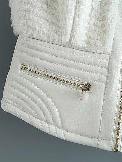 PU Leather Spliced Faux Fur Waistcoat - WHITE M Mobile