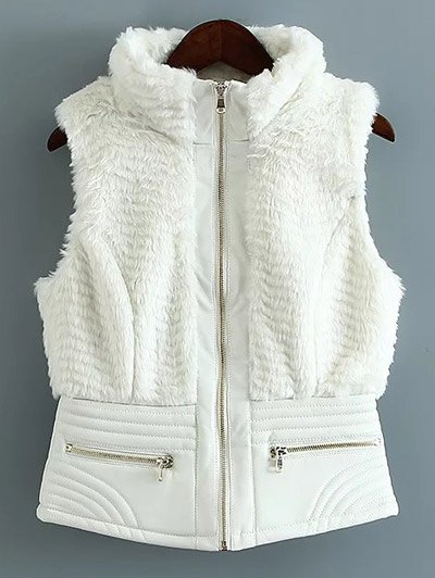 PU Leather Spliced Faux Fur Waistcoat - WHITE S Mobile