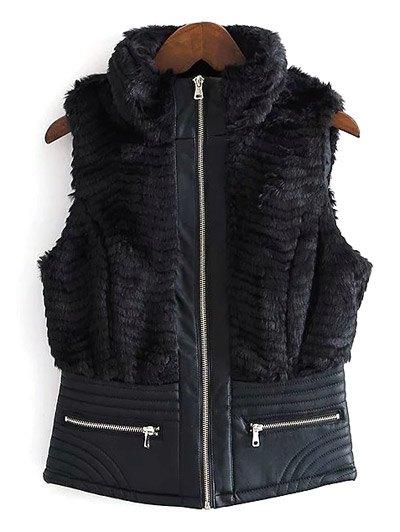 PU Leather Spliced Faux Fur Waistcoat - BLACK L Mobile