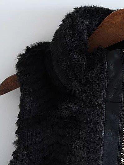 PU Leather Spliced Faux Fur Waistcoat - BLACK S Mobile