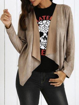 Lapel Collar Long Sleeve Suede Coat - Khaki