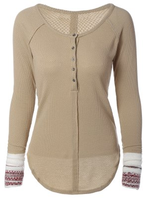 Contrasting Cuffs Long Sleeve Top - Khaki