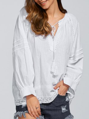Long Sleeve Loose Fitting Blouse - White