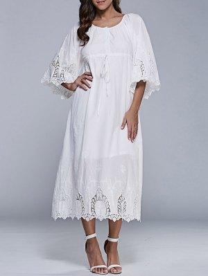 Embroidered Tea Length Shift Dress - White