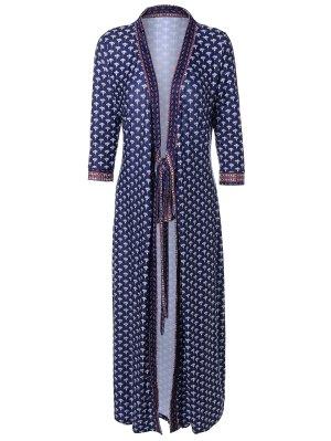 V Neck Printed Kimono Dress - Purplish Blue