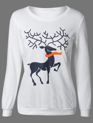 Print Cute Sweatshirt - White